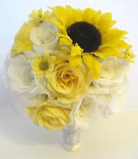 Wedding Bouquet 17 piece package Bridal Silk Flowers YELLOW SUNFLOWER CREAM set