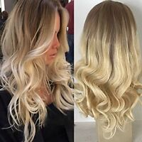 Full Shine Human Hair Wig Wavy Ombre Blonde Balayage Front Lace Wig Brown Roots