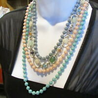 Vintage Statement Necklace Pastel Beads 4 Strand Plastic and Glass Toggle