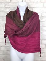"""Brown and Burgundy Color Block Rayon Shawl Wrap Scarf With Fringe 75X23"""""""