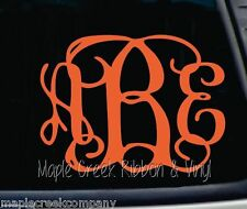 "Clinging Vine Monogram Decal - Orange - Choose your letters - 7"" wide"