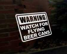 WARNING FLYING BEER CANS Car Decal Sticker JDM DUB VAG Euro Race Drift Funny