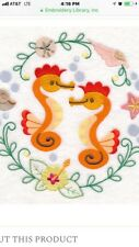 Seahorses To Cute New Set Of 2 Bath Hand Towels Embroidered By Laura