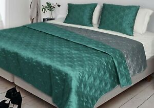 Reversible Aqua  Green Polyester Taffeta Bedspreads Quilt Coverlets (240X260Cm)