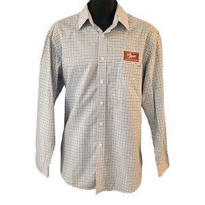 RM Williams Men's Stockyard Shirt Small Blue White Check Embroidered Logo
