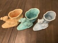 THREE Vintage Shawnee USA Pottery With Dog On Boot Planters