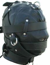 Men Full Gimp Hood Bondage Mask Black Soft Leather Unisex