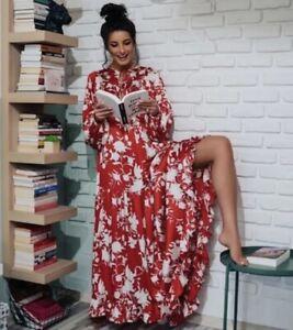 JOHANNA ORTIZ x H&M Voluminous Satin Dress Long Red Wild Roses Floral DESIGNER