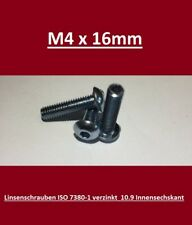 10 Stk Linsenkopfschraube ISO 7380-1 M8 Stahl 10.9 verzinkt 8-60 mm