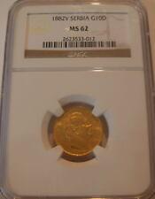 Serbia 1882 Gold 10 Dinara NGC MS-62