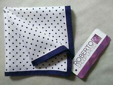 Hankie Pocket Square Handkerchief Hanky MENS Navy Blue White Polka Dots Spotty