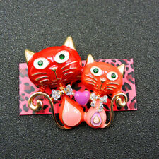 Animal Crystal Charm Brooch Pin Gift Hot Betsey Johnson Red Bling Cute Cat