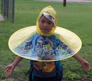 Kids Hands Free Foldable Wearable Raincoat/Hat Umbrella / Raining Fun  L-Yellow