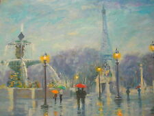 "Renoir Interest American Artist Nino Pippa Painting of Paris France COA 18"" X24"""
