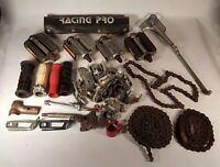 Vintage Bicycle Parts Lot For Repairs or Refurbish Pedals Kickstand Chains Grips