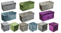 New Quilted Top Folding Storage Ottoman Seat Toy Storage Box Crushed Velvet
