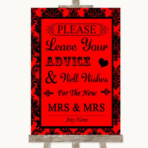 Wedding Sign Poster Print Red Damask Guestbook Advice & Wishes Lesbian