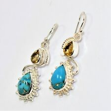 Copper Mohave Blue Turquoise & Citrine Gemstone 925 Sterling Silver Earring
