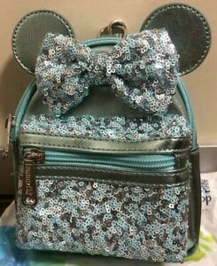 Disney Parks Arendelle Aqua Minnie Mouse Loungefly Sequined Backpack Pouch Bag