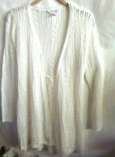 WHITE LONG SLEEVE OPEN FRONT  DUSTER CROCHET SWEATER XS