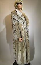 Canadian LYNX Fur Coat w Belly Accents Full Length M-L EXCELLENT