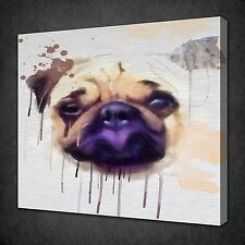 PUG DOG WATERCOLOUR ANIMAL CANVAS WALL ART PICTURE PRINT READY TO HANG