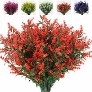 Artificial Decor Flowers Faux UV Resistant Plants 8 Bundles Fake Outdoor Plastic