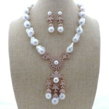"K112201 20"" White Keshi PearlNecklace Earrings Set"