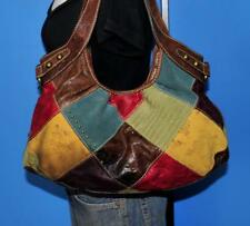 FOSSIL Leather Suede TALITA Patchwork Floral Embossed Slouch Tote Hobo Purse Bag