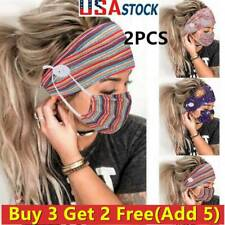 US Women Headband + Mask Outdoor Hairband Face Mask Hairband With Buttons 3+2