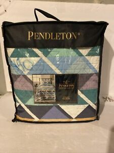 PENDLETON SERRADO Twin Quilt Set With 1 Standard Sham COLOR TAN MULTI SEALED!!
