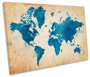 Map World Blue Grunge Picture SINGLE CANVAS WALL ART Print