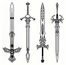 "Pirate Swords 4 pcs 4""  Black Fused Glass Decals 18CC969"