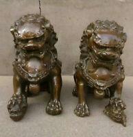 China bronze Door Fengshui Guardion Foo Fu Dog Lion Statue Pair