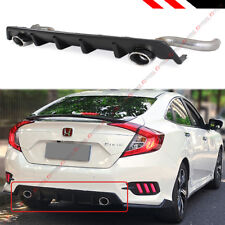 For 2016-18 Honda Civic 4 Dr Dual Exhaust Rear Bumper Diffuser + Axle Back Pipes