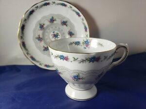 "Tuscan English Bone China Teacup and Saucer ""Honiton"" Lace"