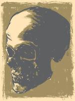Skull Poster Art Print Brian Ewing Gold on Cream