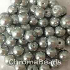 8mm Glass faux Pearls - Silver Grey (50 beads) jewellery making