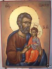 HAND PAINTED GREEK ORTHODOX ICON ST. JOSEPH AND CHILD