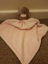 Pink Comforter Soother Small Blanket With Brown Bear From George