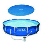 Swimming Pool Solar Cover Tarp, Blue Bundled w/ Metal Above Ground Swimming Pool