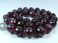 "10mm Faceted Garnet Red Gemstone Round Beads Necklace 18"" JN40"