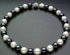 10mm Black & White south sea Shell Pearl Necklace 18'' JN784