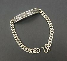 "Solid Sterling Silver Ornate Star Bar Center Curb Chain 8"" Bracelet Men Women"