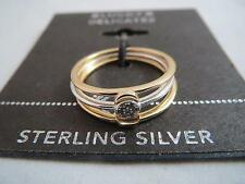 Lucky Brand Delicates set/3 sterling silver pave crystal ring, size 7, NWT