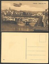 Old Aviation Postcard - Italy, Zeppelin, Airplane over Firenze