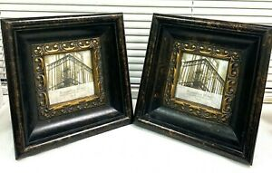 """Set of 2 Picture Frames Solid Wood 12 x 12 Heavy Gold Carving Photo  5x5"""""""