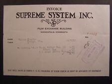 Movie Billhead Supreme System 1919 Just Plain Folks Dorothy Dane Bobby Vernon