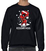 DEADPOOL MERRY KISSMYASS Unisex Humorous Funny black Christmas sweater jumper