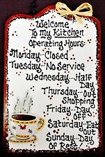 COFFEE CUP Kitchen Operating Hours SIGN Country Wall Art Hanger Plaque Decor